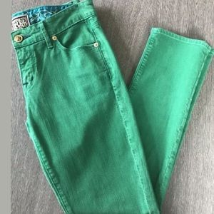Rich & Skinny Kelly Green Skinny/Straight Jean 25
